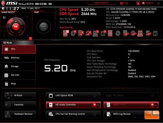 Материнские платы MSI Z270 автоматом разгоняют Core i7-7700K до 5.20 ГГц