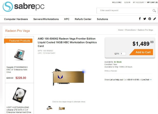 Vega Frontier Edition на SabrePC