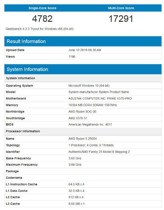 Ryzen 5 2500X в Geekbench