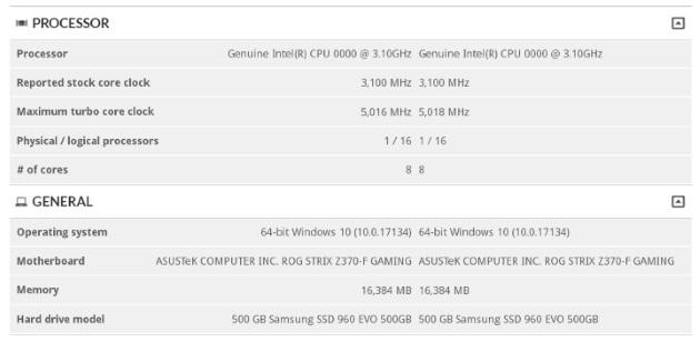 спецификации Core i9-9900K