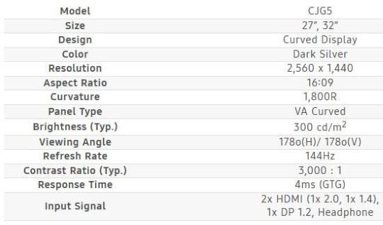 Спецификации Samsung CJG5