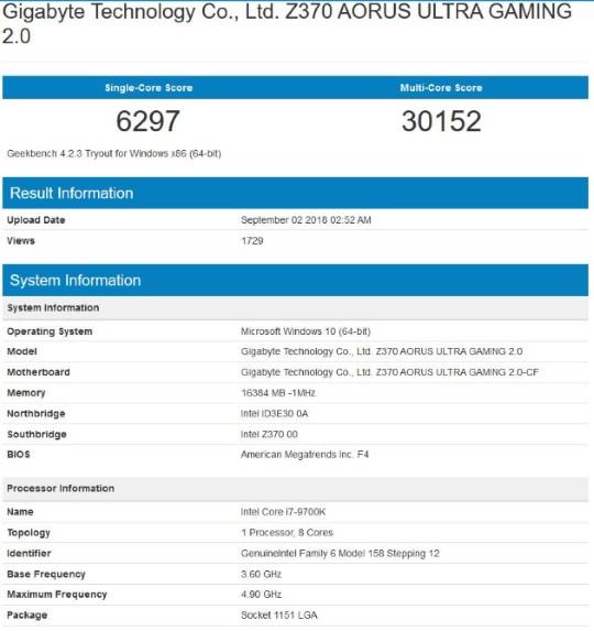 Core i7-9700K в тестах Geekbench