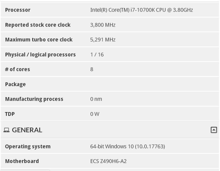 Утечка характеристик core i7-10700k