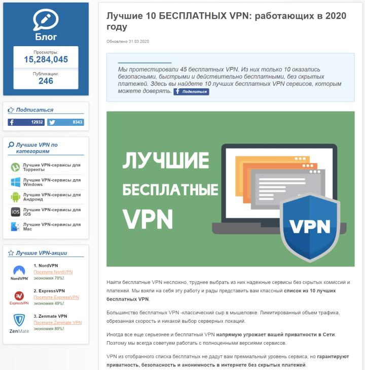 Выбор безплатных VPN